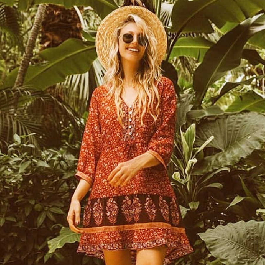 TEELYNN mini boho robe 2018 automne rayonne imprimé fleuri robes col en v cordon taille courte robe Hippie femmes robe Vestido