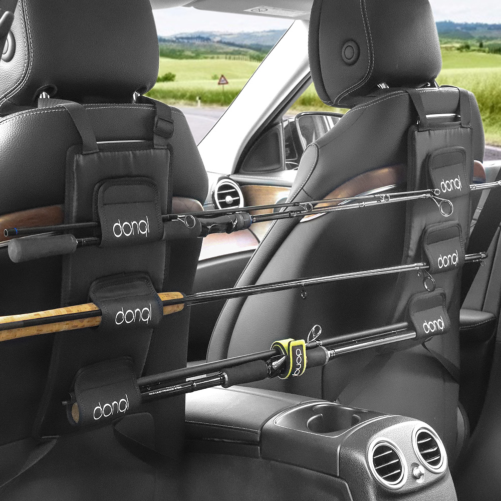 DONQL Fishing Rod Holder For Car Backseat Portable Fishing Pole Tie Straps Rack Universal Bracket Fishing Tackle Tool
