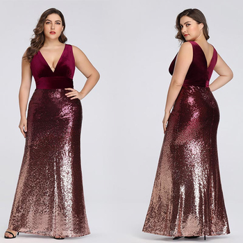 Plus Size Mother Of Bride Dress Ever Pretty Mermaid Sequined Long Formal Gowns For Wedding Guest Vestidos Para Madre De La Novia 2