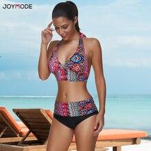 JOYMODE Hot moda damska tropikalne wzory kostiumy kąpielowe efektowne stroje kąpielowe Bikini Pad szydełkowe Bikini na plażę seksowny kostium kąpielowy
