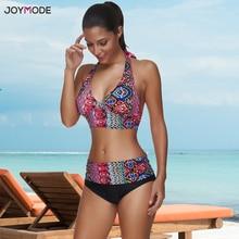 JOYMODE bañador con patrones tropicales para mujer, traje de baño Sexy con almohadilla de Bikini de ganchillo para playa