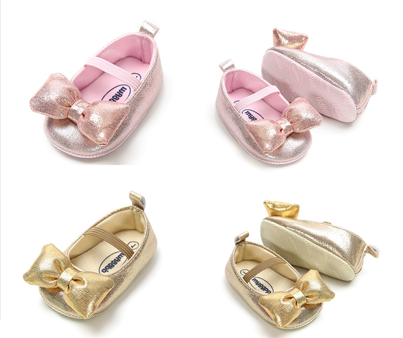 B&G Girl Princess Dancing Shoes Soft Pu Kids Shoes Brethable Baby First Walkers Anti-Slip Walking Shoes