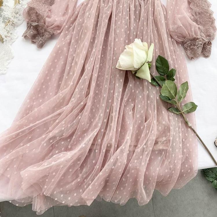 Lace Floral V-Neck Long Sleeve Polka Dot Dress 38