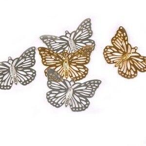 10 sztuk złota/srebra metalowe rękodzieło motyl złącza filigran kwiat okłady DIY ustalenia dla biżuteria upiększeń Decor ykl0768