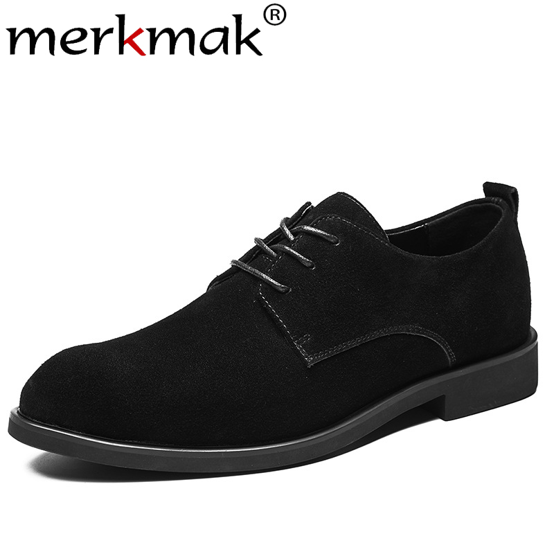 Merkmak Genuine Leather Men Shoes Fashion Lace-up Casual Shoes 2019 New Autumn Wear-resistant Male Walking Footwear Big Size