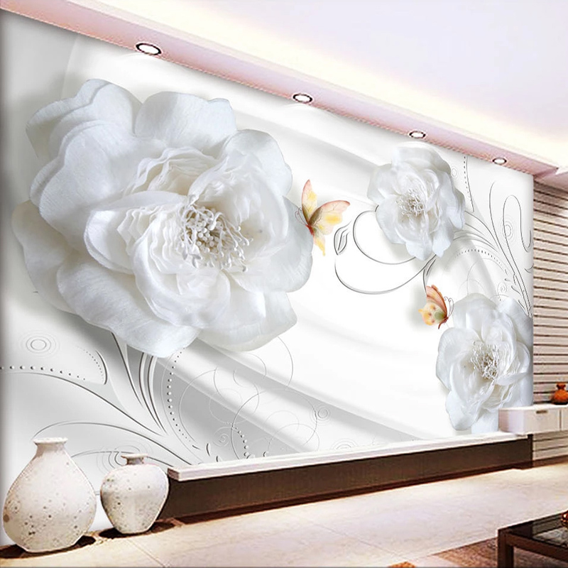 Custom Any Size Waterproof Silk Cloth Mural Wallpaper Flowers Living Room Sofa TV Background Wall Decor Painting Papel De Parede