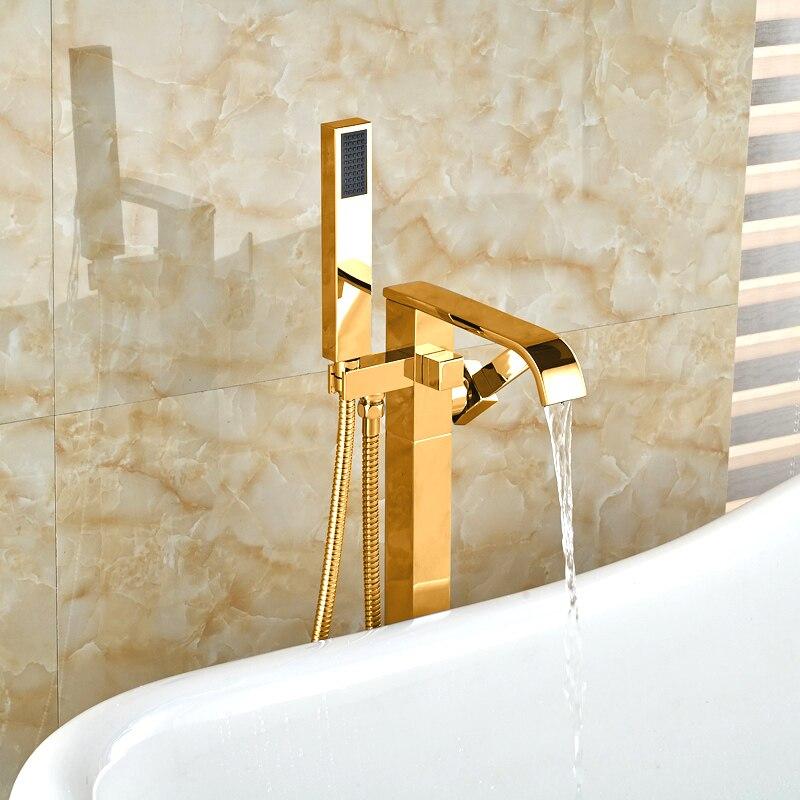 Golden Bathtub Faucet Floor Mounted with Handshower Bath Shower Mixers Free Standing Bathroom Tub Mixer Tap