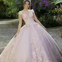 Quinceanera Dress Sweet 16 Pink Princess Ball-Gown Sequins Party Vestidos-De-15-Aos V-Neck