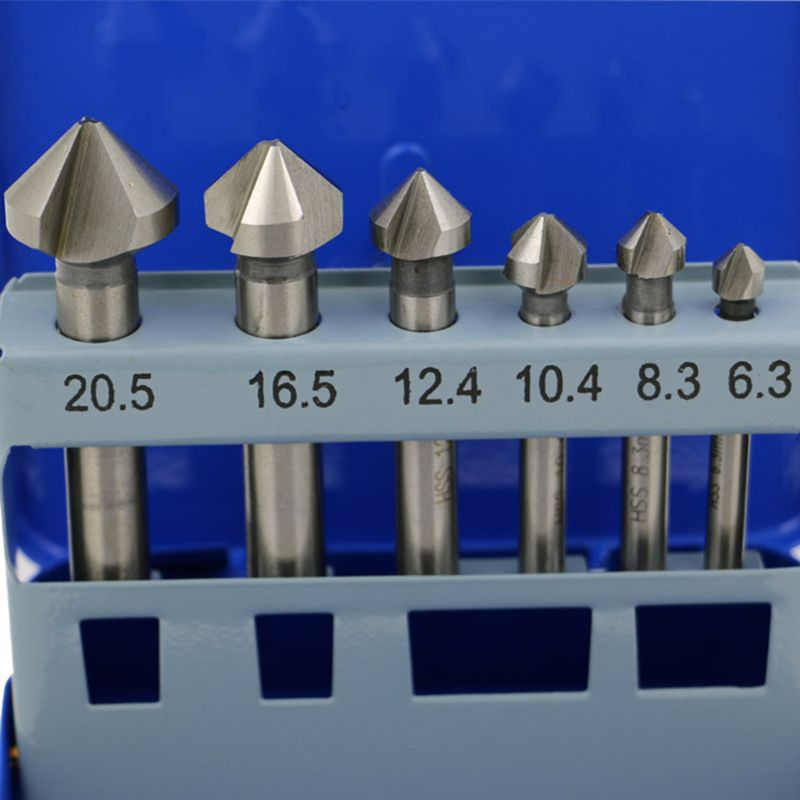 6Pcs 3 Flute Countersink Drill Bit Set 90 Degrees Steel Point Angle Chamfer Tool Y51B
