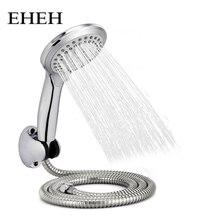 EHEH 5 Function Round Rain Shower Head Sets Wall Mounted Bathroom Shower Hose+Shower Holder +Adjustable Handhold Showerhead