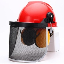 Safety Helmet With Noise-proof Earmuff Mesh Visor Face Shield Protective Screen Resist Sawdust Weeds Lawn Mower Accessories
