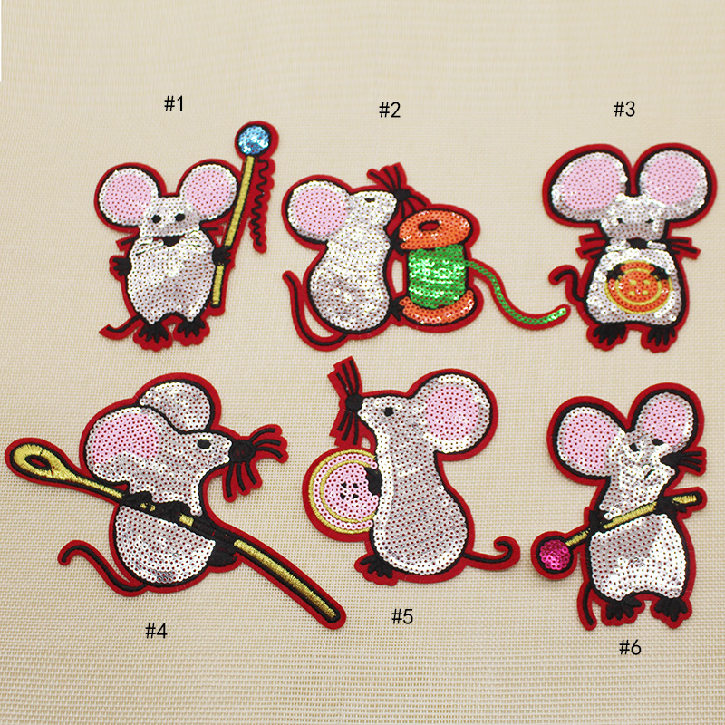 Cute Sewing On Patches 6 Pcs Cute Mouse Sequins Patches Vintage Embroidered Applique T-shirt  Garment Accessories Diy Decoration