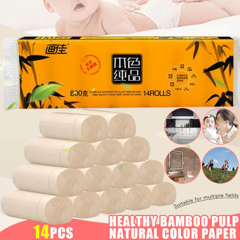 Home Roll Paper 14pcs Roll Paper Tissue Paper Roll 5 Layer Thickened Household Paper Multifold Soft Paper Towels #3