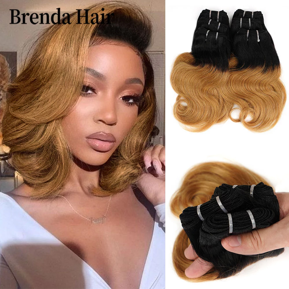 6 Pcs/Set 190g/Set Body Wave Hair Bundles Ombre Brazilian Hair Weave Bundles Color 1B/27/613/99J Human Hair Extension Remy Hair