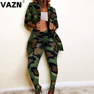 VAZN Autumn 2019 Upmarket Formal Untidy Sexy Fashion 2 Color Full Sleeve Blazer Top Long Pants Women Slim 2 Piece Set
