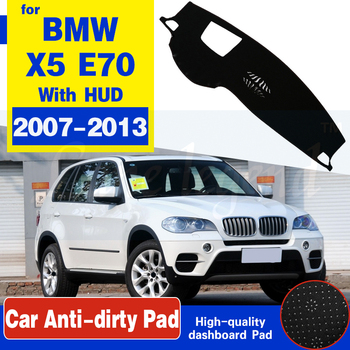 Anti-Slip Anti-UV Mat Dashboard Cover Pad Sun Shade Dashmat Protect Carpet Accessories For BMW X5 E70 2007~2013 With HUD image
