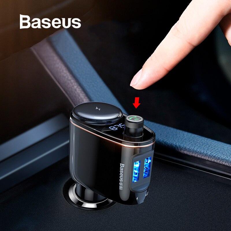 Chargeur de voiture Bluetooth Baseus transmetteur FM LED affichage de tension numérique voiture allume-cigare répartiteur de prise chargeur de téléphone de voiture