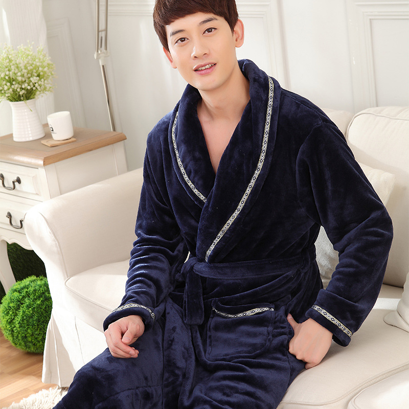 Flannel Nightgown Men Robe Coral Wool Upgrade Home Wear Thickened Autumn/Winter Bathrobe Lounge Negligee Pajamas Халат