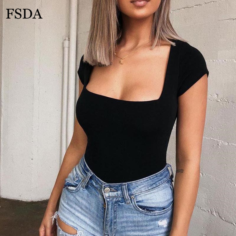 FSDA <font><b>Short</b></font> <font><b>Sleeve</b></font> <font><b>Square</b></font> <font><b>Collar</b></font> <font><b>Bodysuit</b></font> Women Summer Black White Red Sexy Streetwear Party Body Top image