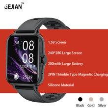 Gejian novo 1.69 Polegada smartwatch masculino toque completo multi-modo esporte com relógio inteligente feminino monitor de freqüência cardíaca para ios android + caixa