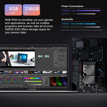 """Teclast F7 Plus 14.1"""" Laptop 8GB/12GB RAM 256GB SSD Intel Gemini Lake N4100 1920 x 1080 FHD Windows 10 Backlit Keyboard Notebook 3"""