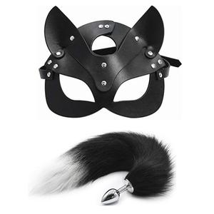 Fox Tail Anal Plug Metal Anus Butt Plug Adult Sex Products SM Women Leather Eye Mask and Collar Catwoman Cosplay Adult Games