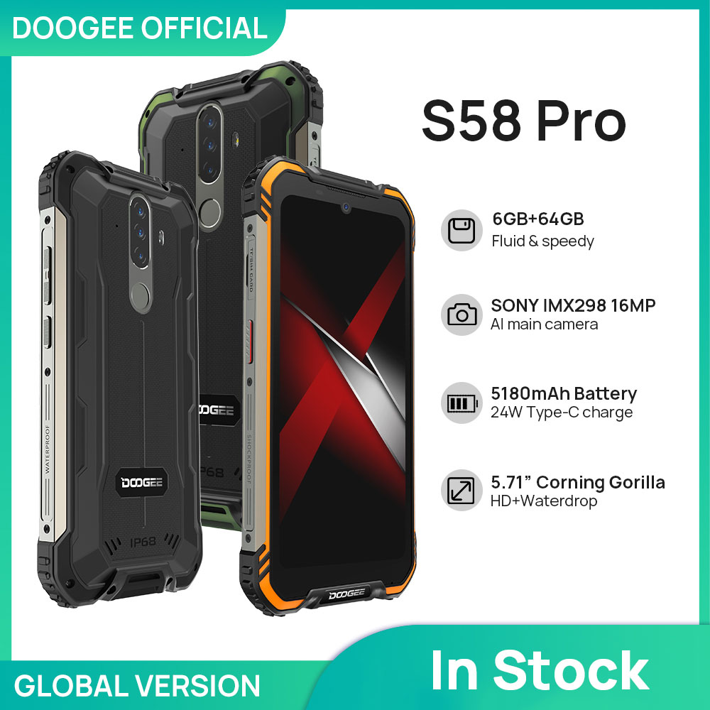 Nuovo-telefono-cellulare-DOOGEE-S58-Pro-IP68-IP69K-telefono-robusto-impermeabile-5180mAh-5-71-FHD-Display Recensione Doogee S58 Pro, ottimo Smartphone Rugged 2020