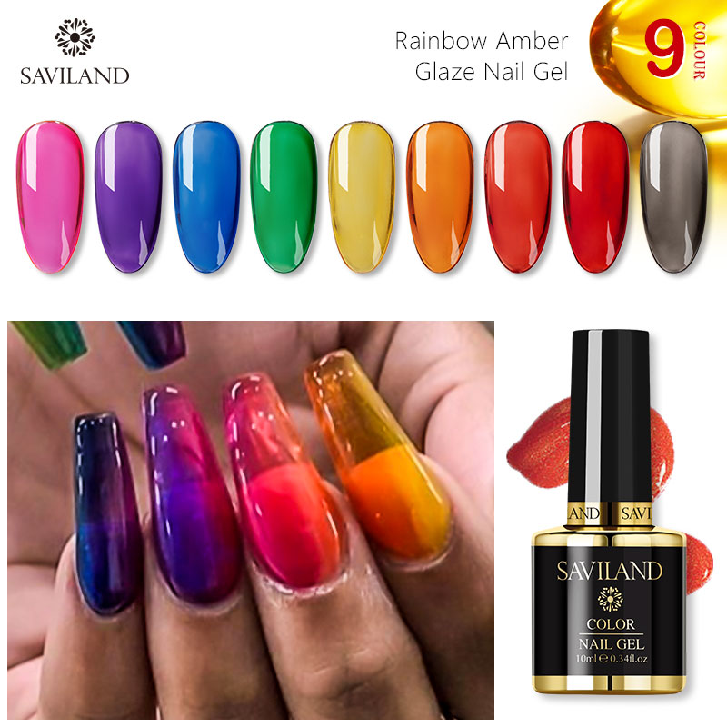 SAVILAND Nail Gel Polish Glass Opal Jelly Gel Rainbow Amber Glaze Nails Jellies Glass Candy Translucent Gel Varnish Nail Art