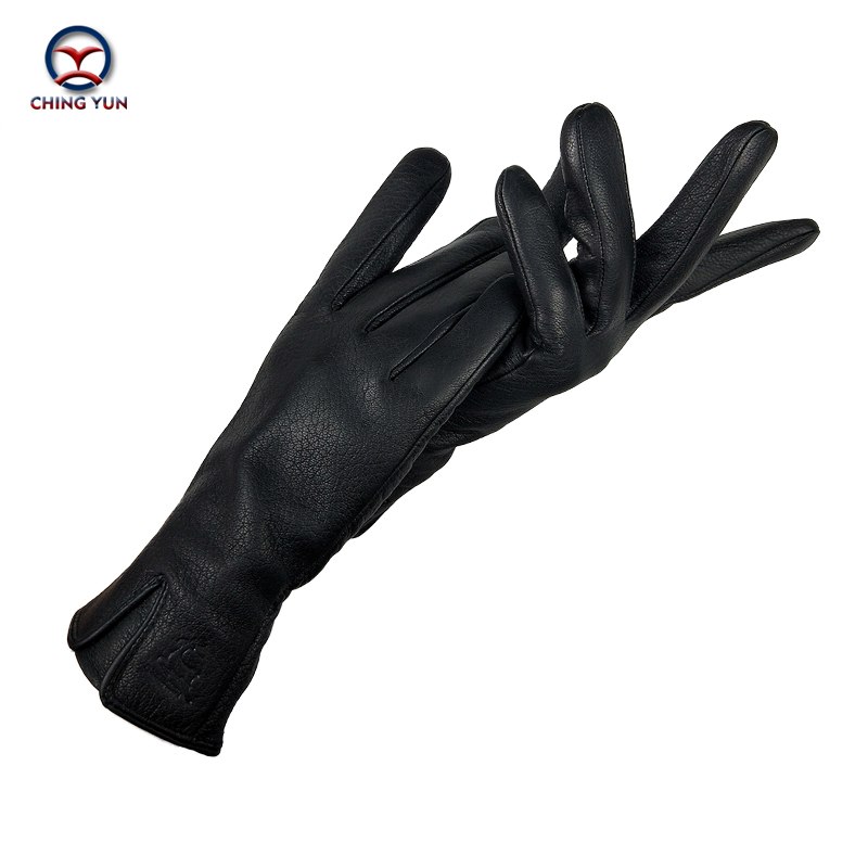 CHINGYUN New Women's Gloves Genuine Leather gloves Winter Woman 70% wool knit lining V-shaped wrist design leather gloves women