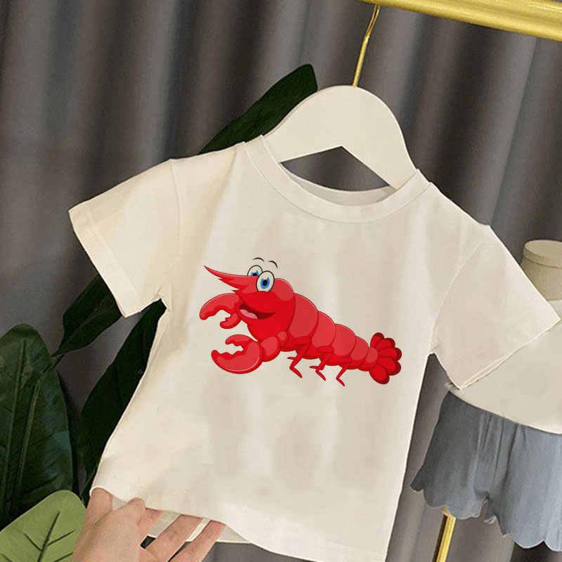 2020 原宿ガール Tシャツ子供のラウンドネック Tシャツボーイズ夏かわいいかわいい女の子トップス漫画ロブスタータコ子供服
