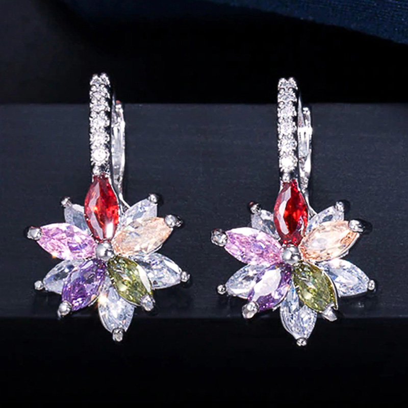 Huitan Novel Double Layer Double Color Flower Zircon Stone Women Romantic Wedding Drop Earring Delicate Daily Wear Girl Earrings
