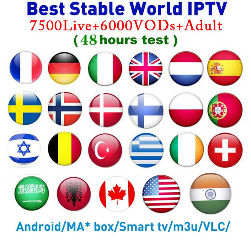 7500 Saluran Dunia Global IPTV Eropa USA UK Jerman Italia Nordic Latin 3/6/12 Bulan Berlangganan untuk m3U Mac Android Smart TV