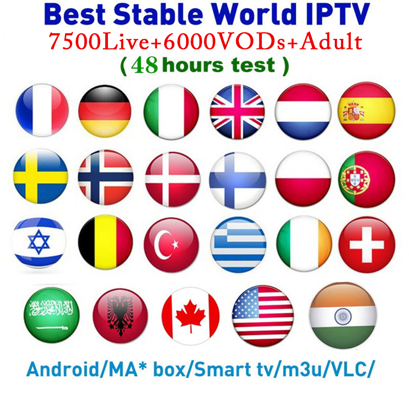 7500 Channels World Global IPTV Europe USA UK Germany Italy Nordic Latin 3/6/12 Month Subscription For M3U MaC Android Smart TV