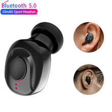X18 Single Bluetooth Earphone 5.0 Wireless Earphones Button Control Stereo Earplug Handsfree Sport Earpiece For All Smartphones