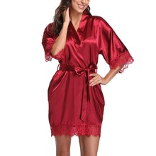 халаты Women Short Satin Sexy Silk Bodycon Slim Party Evening Dressing Gown Lace Kimono Bathrobe Summer Nightwear Suit ночные халаты