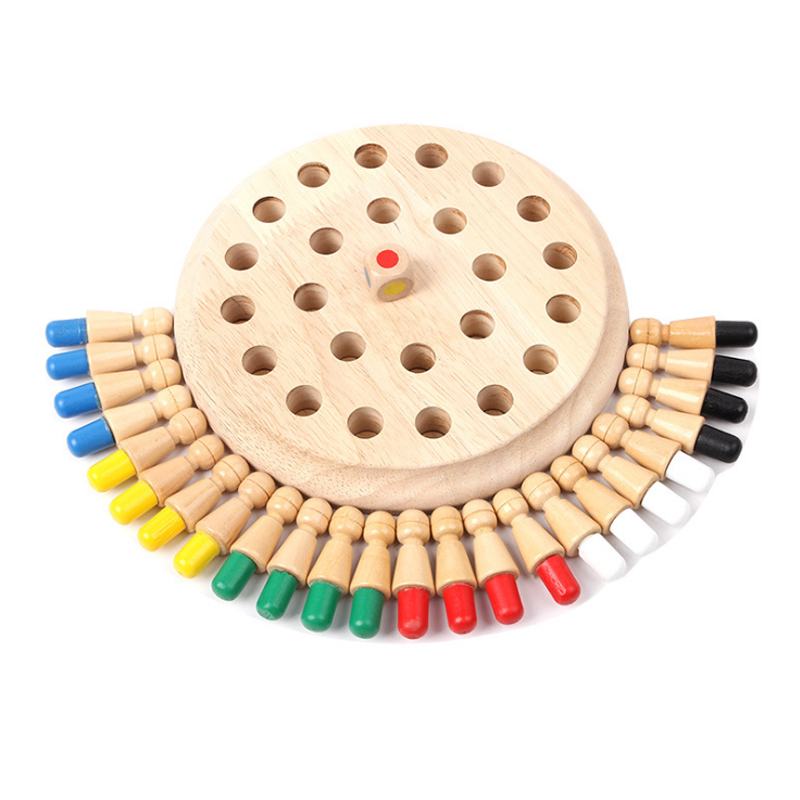 Kids Wooden Memory Chess  Game Match Stick Fun Block Board Game Educational Color Cognitive Ability Family Party Game Toy