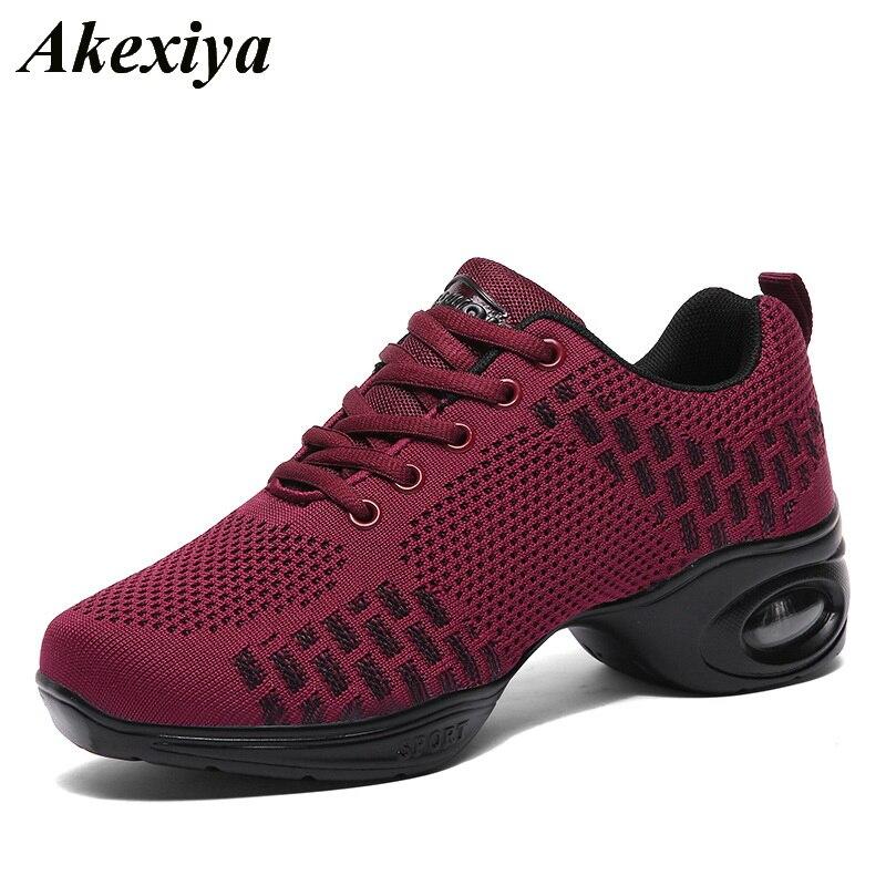 New Ladies Comfy Athletic Sneaker Jazz Hip Hop Square Dance Net Breathable Shoes