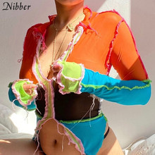 Nibber Hot Sexy Mesh See Through Women Crop Tops Long Sleeve Patchwork T Shirts deep V Neck Party Club Fashion Street Style Tee