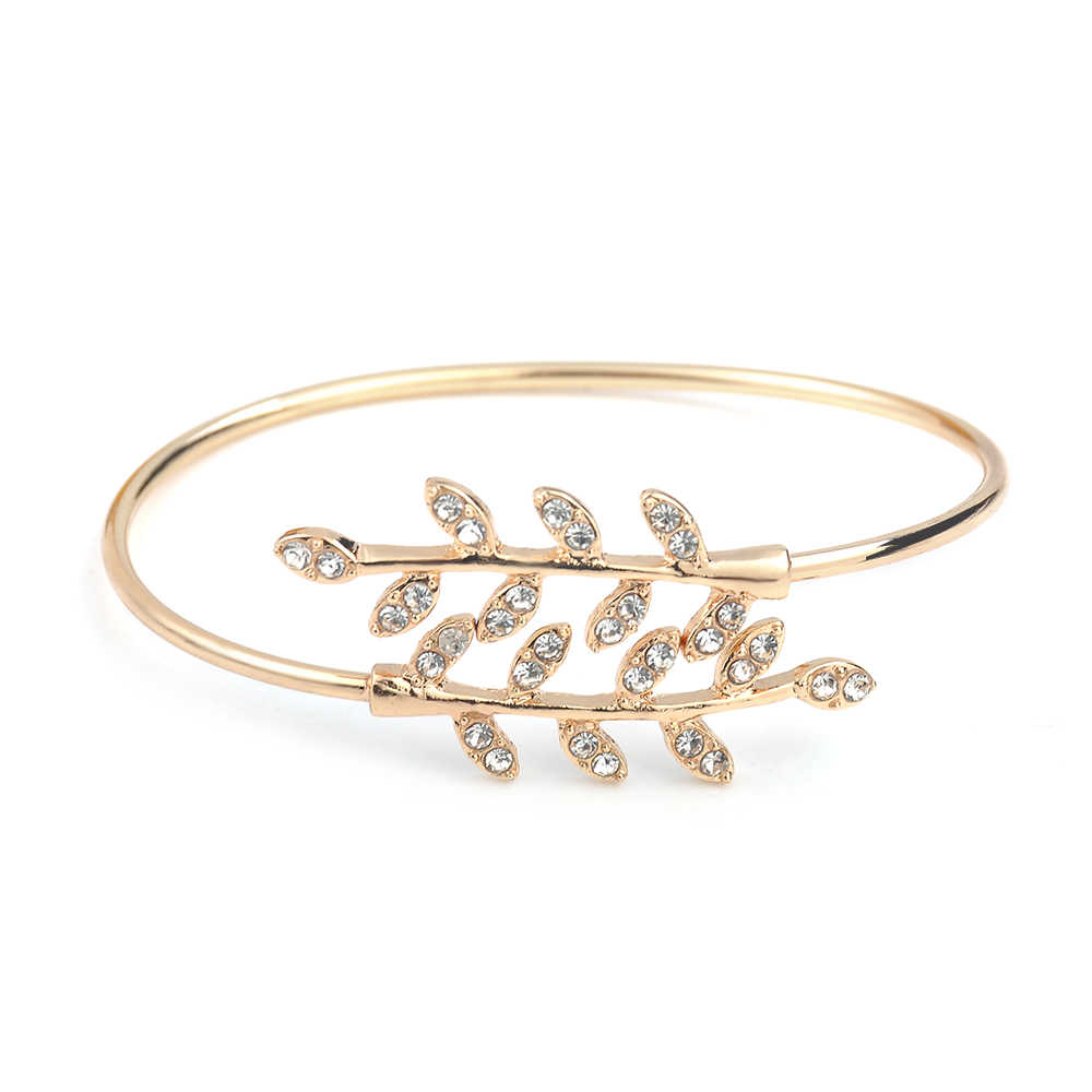 Fashion Jewelry Bracelet Party Rhinestone Leaf Bangles Adjustable Opening Bracelet Bangles For Women Girl Gift indian jewelry