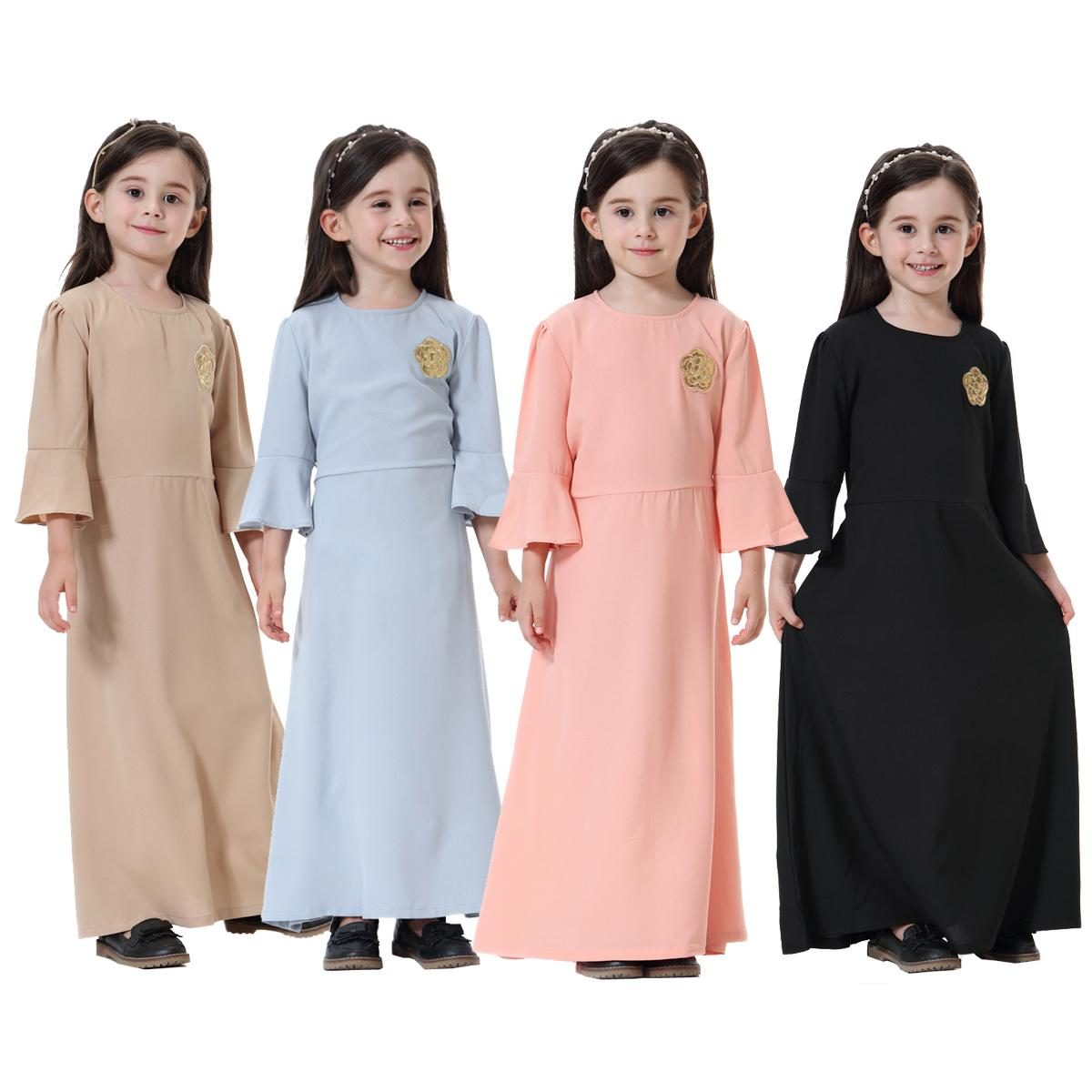 Cute Muslim Children Abaya Kids Long Dresses Girl Maxi Dress Robe Gowns Kimono Jubah Ramadan Middle East Arab Islamic Clothing