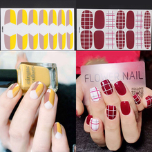 14tips/sheet Full Cover Nail Stickers Wraps DIY Art Decals Plain Self Adhesive Finger Sticker