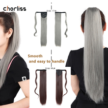 Synthetic Ponytail Hair-Extensions Hairpieces Clip Fake-Hair Wrap-On Blonde Brown Straight