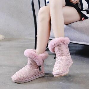 Image 4 - SWYIVY kar botları kadın 2019 yeni kış kürk ayakkabı pamuk yastıklı sıcak yarım çizmeler kadın yan fermuar kış rahat çizme Snowboots