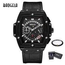 Baogela, мужские спортивные часы с хронографом, кварцевые наручные часы, кожа, роскошный бренд, индикатор Даты, водонепроницаемые наручные часы 1703
