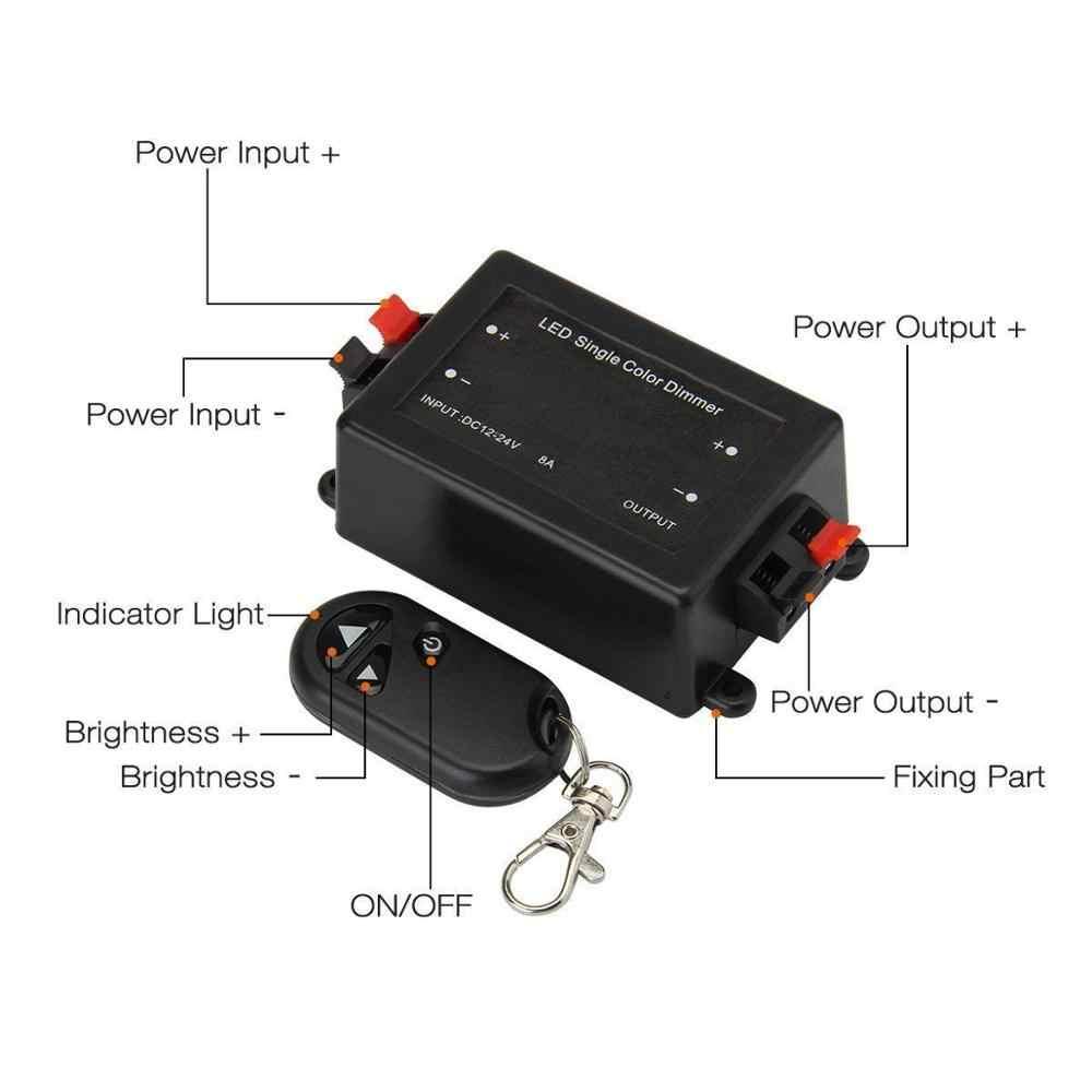 Led シングルカラー調光 3 キー RF リモコンワイヤレス LED コントローラ 12V 24V DC 8A smd 5050 3528 LED ストリップライトロープ