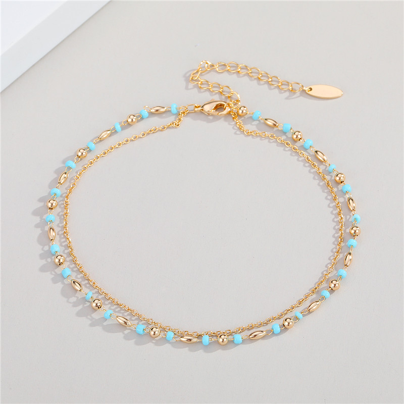 1PC Bohemian Minimalist Multilayer Bead Foot Chain Anklet For Women New Trendy Small Round Tassel Leg Bracelet Beach Jewelry