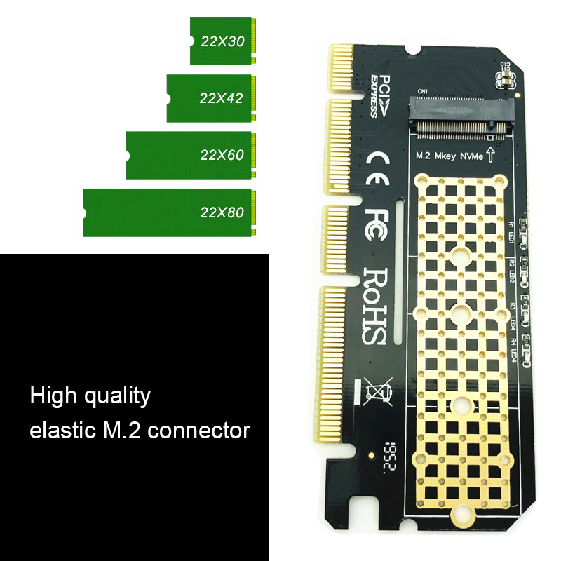M.2 NVME PCIE to M2 Adapter LED NVME SSD M2 PCIE x16 Expansion Card Computer Adapter Interface M.2 NVMe SSD To PCIE M.2 Adapter 5
