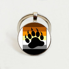 Bear Pride Ying Yang with Paw Gay Pride Photo Charm Keychain Car charm keychain Glass Dome Gay Key Chain(China)