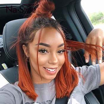 Ombre Lace Front Wig Straight Blunt Cut Bob Wig Ginger Orange Wig Human Hair Bob Lace Front Wigs Colored Human Hair Wigs