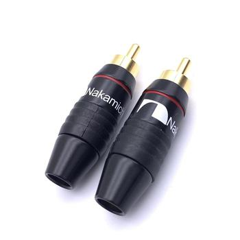 Hifi Brass  Nakamichi RCA Male Plug Jack Audio Cable Solder Gold plated Connector Black for 6mm Cable